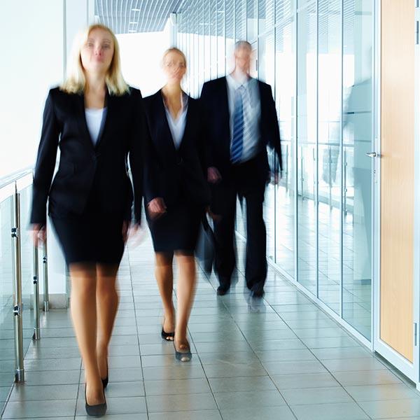 Attorneys walking down hall